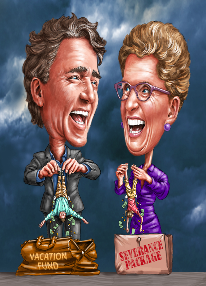 Digital Illustration by John Fraser of Justin Trudeau and Kathleen Wynne demonstrating the Liberal Party's agenda for collecting taxes