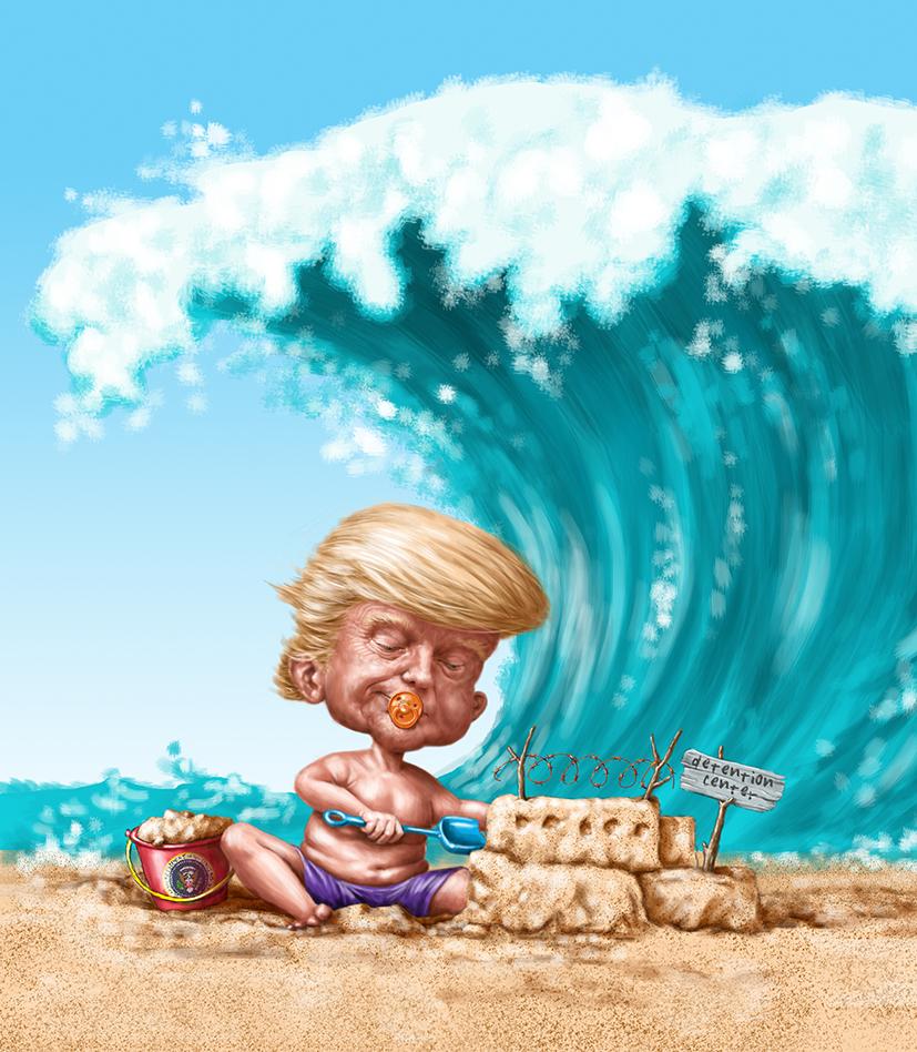 Trump building detention center sandcastle on beach as blue wave comes crashing over him.