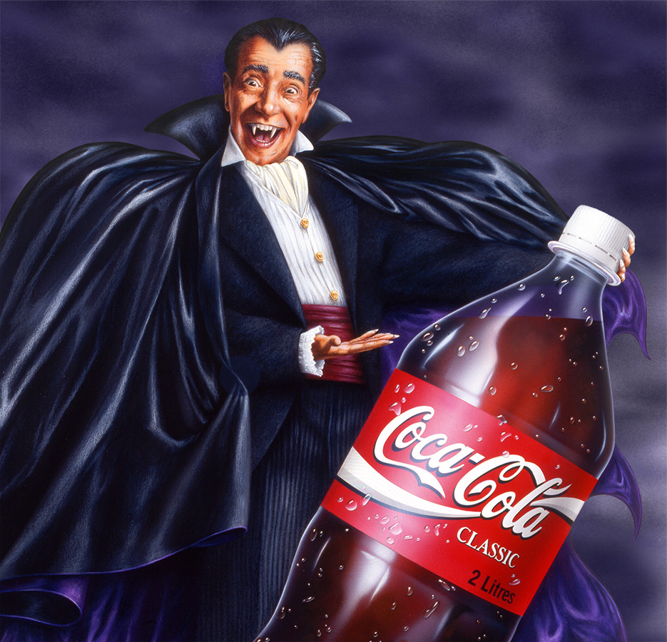 Illustration by John Fraser of Dracula with Coca Cola