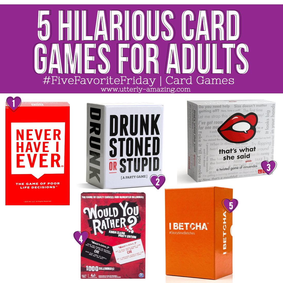 5 Hilarious Card Games For Adults | #FiveFavoriteFriday
