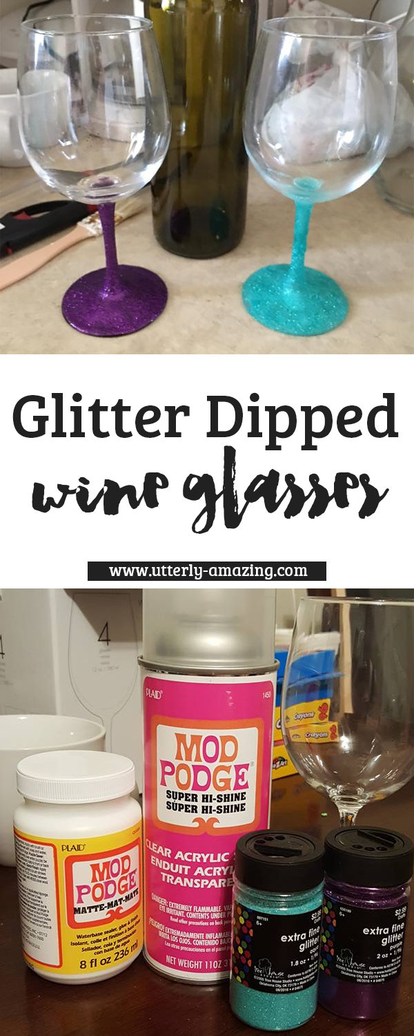 DIY: HOW TO MAKE A GLITTER DIPPED WINE GLASSES