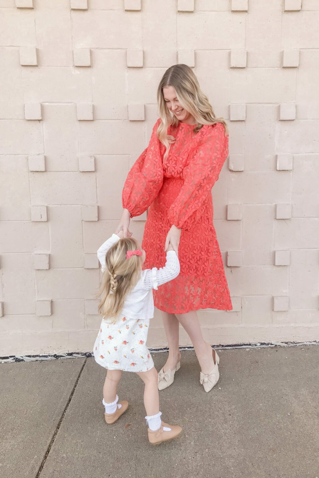 Coral Embroidered Dress 7