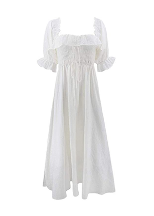 amazon dress midi ruffle smocked white brookie swiss dot