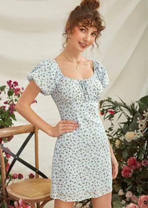 blue floral puff mini dress brookie shein
