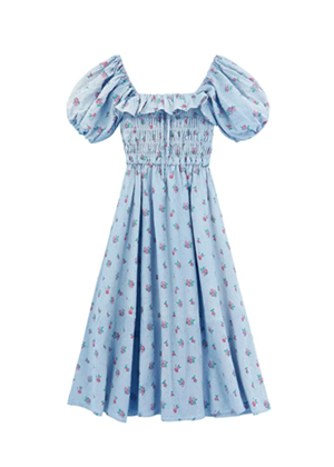 blue floral puff sleeve smocked midi dress amazon brookie