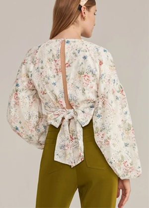 eyelet beige floral pastel balloon sleeve bow back top blouse brookie shein