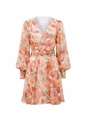 forever new orange floral long sleeve mini belt dress brookie