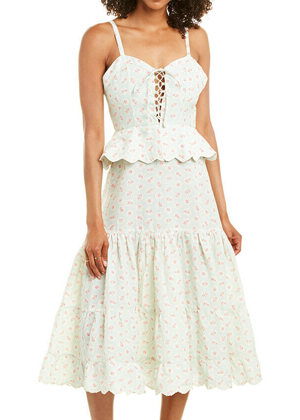 hemant and nandita pastel mint floral peplum dress brookie ruelala