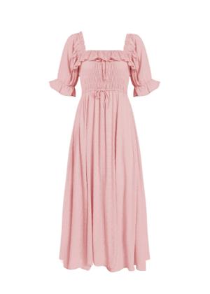 pink amazon ruffle swiss dot midi dress pink dusty brookie