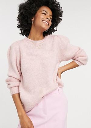 pink puff sleeve sweater brookie asos