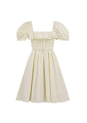 puff sleeve daisy smocked mini dress amazon brookie beige