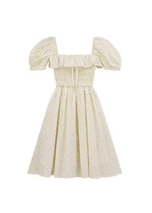 puff sleeve daisy smocked mini dress amazon brookie beige
