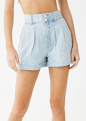 light wash roll high waist shorts denim forever 21 brookie