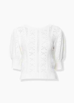 white pointelle knit short puff sleeve sweater brookie forever 21