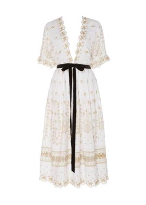 LoveShackFancy Augusta Embroidered Lace Black Ribbon Eyelet Midi Dress white brookie