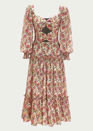 fall floral chiffon premium shein brookie dress midi red pink ruffles