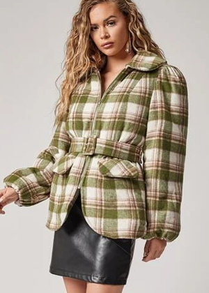 tartan plaid quilted hunter green coat jacket brookie shein