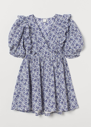 blue white floral puff sleeve mini dress h&m brookie