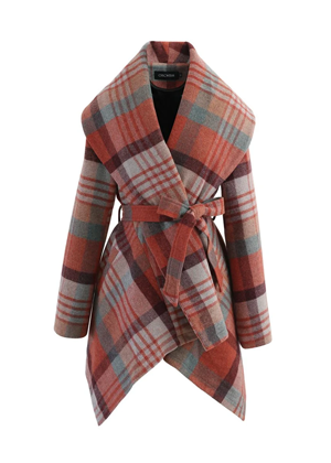 brown blue plaid wrap coat brookie chicwish