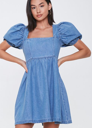 chambray puff sleeve dress brookie forever 21