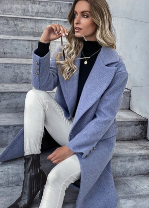 dark blue wool long coat brookie shein