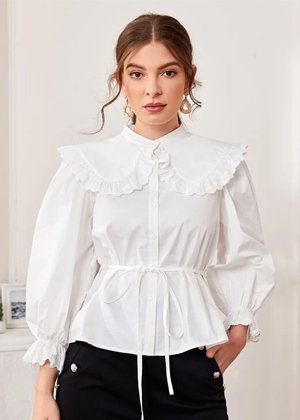 white collar sleeve button blouse top brookie shein