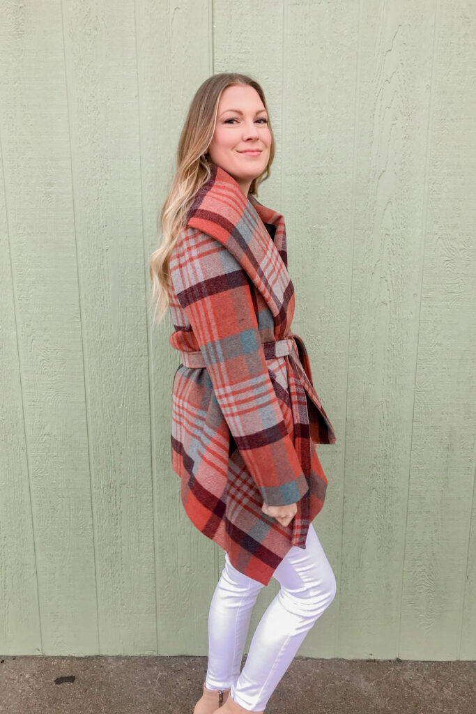 Plaid Wrap Coat 2