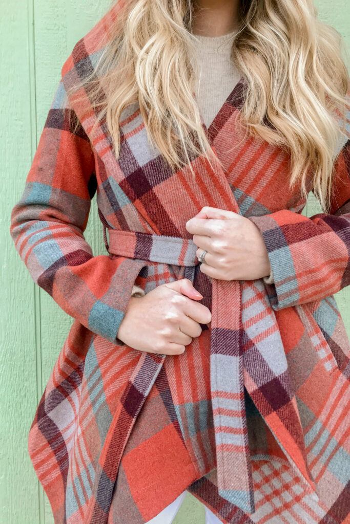 Plaid Wrap Coat 1
