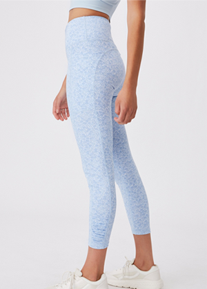 blue ditsy floral activewear pants leggings brookie cotton on