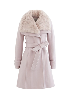 blush pink faux fur pea coat chicwish brookie belted