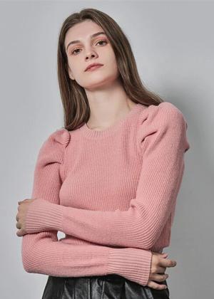 dusty rose pik puff sleeve ribbed top sweater brookie shein motf
