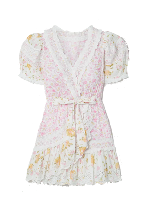 loveshackfancy belen dress floral pink yellow mini eyelet brookie 1