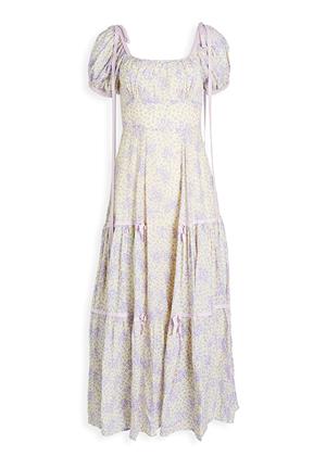 loveshackfancy jessie dress puff sleeve ribbons purple yellow floral maxi brookie 1
