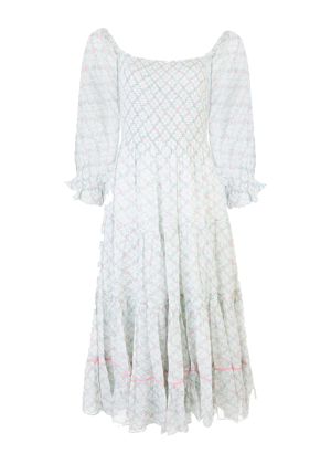 loveshackfancy rigby dress puff sleeve trellis floral midi white blue pink brookie
