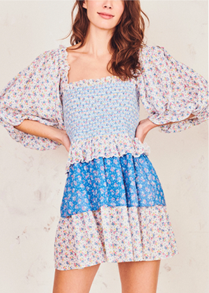 loveshackfancy shaw dress puff sleeve tiered mini dress blue brookie