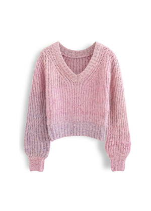 ombre purple pink v neck chunky knit sweater chicwish brookie
