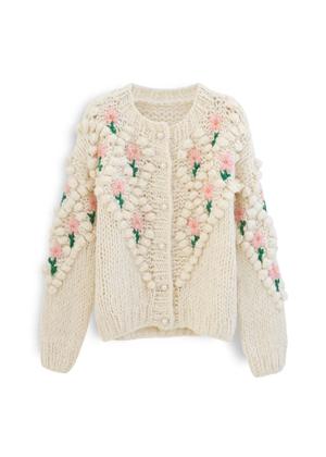 pom pom bobble knit flower floral pearl button cardigan vita grace chicwish beige cream brookie