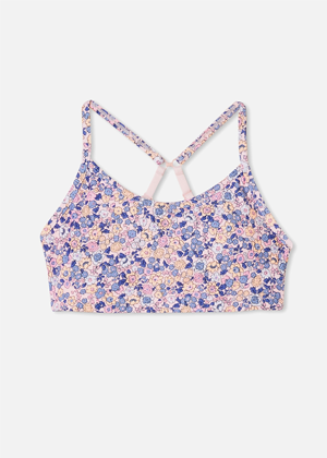 purple floral cotton on brookie crop top activewear