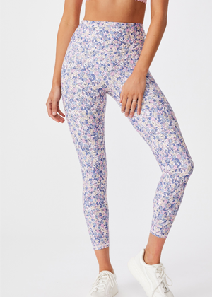 purple floral cotton on brookie tights activewear