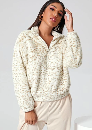 white beige leopard cheetal teddy jacket half zip coat shein brookie