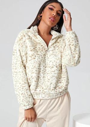white beige leopard cheetal teddy jacket half zip coat shein brookie