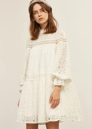 white eyelet crochet premium motf shein brookie balloon sleeve