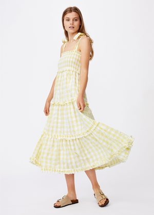 yellow gingham tie bow shoulder ruffle dress cotton on brookie