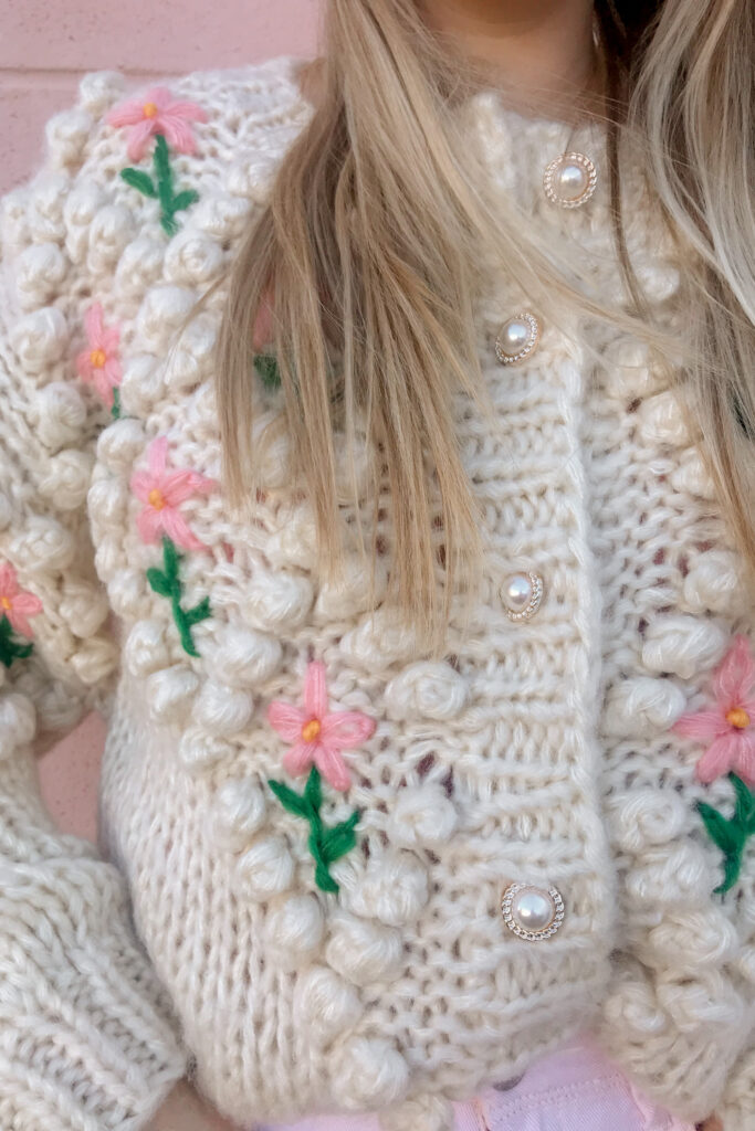 Pearl Button Floral Cardigan 2