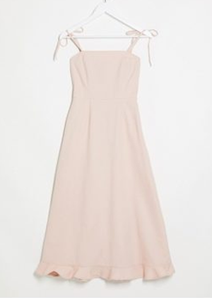 pink blush denim bow shoulder dress brookie asos
