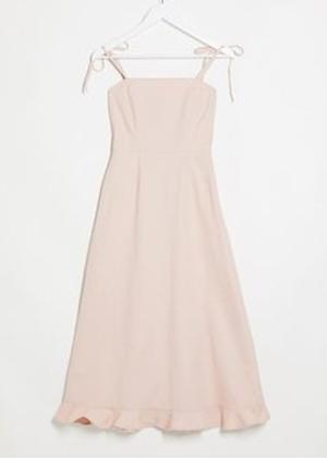 pink blush denim bow shoulder dress brookie asos