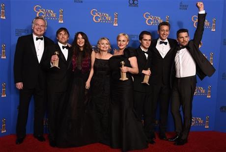 'Boyhood' tops Globes; 'Grand Budapest' upsets 'Birdman'