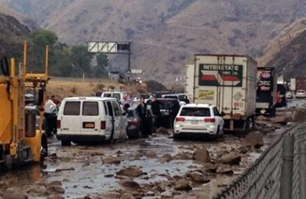 Mud covers highways, strands drivers in Southern California