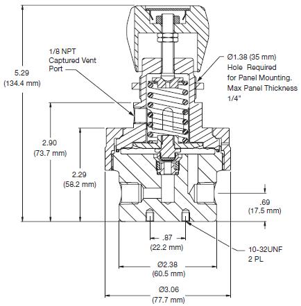 Ohio Valley Industrial Services- Coalescing Filters, Regulators, and Lubricators- ABP3 Series Back Pressure Regulator Drawing