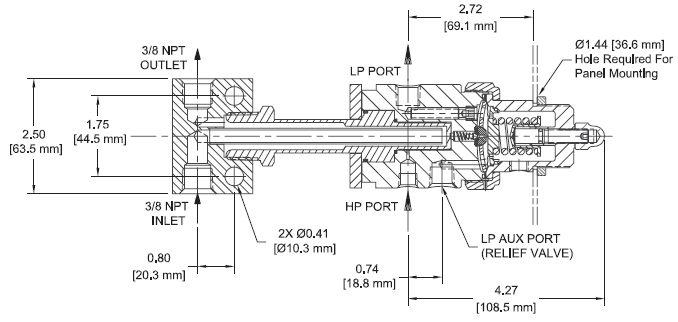 Ohio Valley Industrial Services- Coalescing Filters, Regulators, and Lubricators- AVR3 Series Steam Heated, Vaporizing Pressure Regulator Drawing